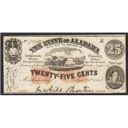 1863 Twenty Five Cents The State of Alabama Obsolete Note