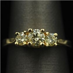 14KT Yellow Gold 0.81 ctw Three Stone Diamond Ring