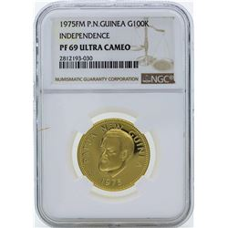 1975FM Papua New Guinea 100 Kina Independence Gold Coin NGC PF69 Ultra Cameo