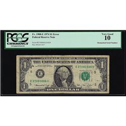 1974 $1 Federal Reserve Note Mismatched Serial Number ERROR PCGS VG10