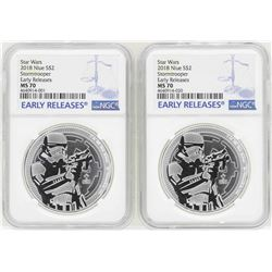 Lot of (2) 2018 Niue $2 Star Wars Stormtrooper Silver Coins NGC MS70 Early Relea