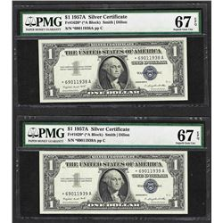 Lot of (2) 1957A $1 Silver Certificate STAR Notes PMG Superb Gem Uncirculated 67