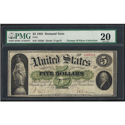 1861 $5 Demand Note New York Fr.1 PMG Very Fine 20