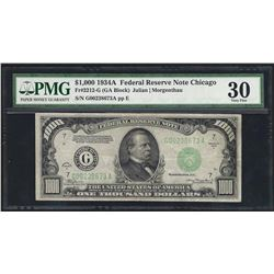 1934A $1000 Federal Reserve Note Chicago PMG Very Fine 30