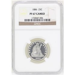 1886 Seated Liberty Quarter Proof Coin NGC PF67 Cameo