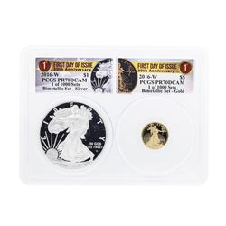 2016-W American Silver & Gold Eagle 30th Anniversary Proof Bimetallic Set PCGS P