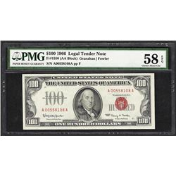 1966 $100 Legal Tender Note Fr.1550 PMG Choice About Uncirculated 58EPQ