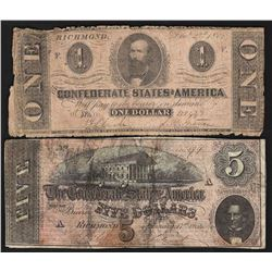 Lot of 1862 $1 & 1864 $5 Confederate States of America Notes