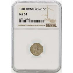 1904 Hong Kong 5 Cents Silver Coin NGC MS64