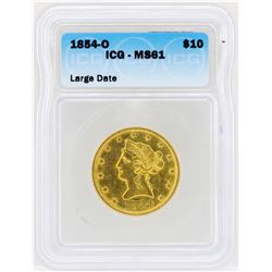 1854-O $10 Large Date Liberty Head Eagle Gold Coin ICG MS61