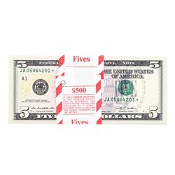 Pack of (100) Consecutive 2009 $5 Federal Reserve STAR Notes Uncirculated