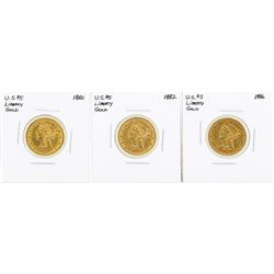 Lot of (3) $5 Liberty Head Half Eagle Gold Coins