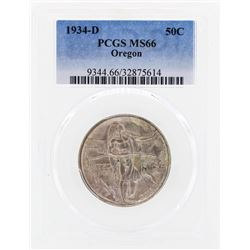 1934-D Oregon Commemorative Half Dollar Coin PCGS MS66