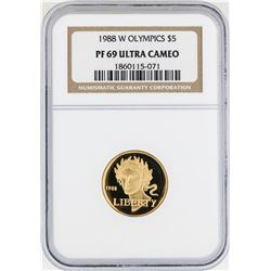 1988-W $5 Olympic Commemorative Gold Coin NGC PF69 Ultra Cameo