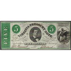 1862 $5 Virginia Treasury Obsolete Note