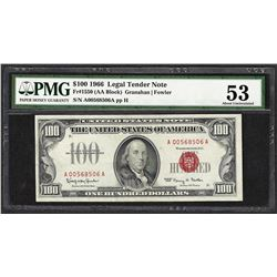 1966 $100 Legal Tender Note Fr.1550 PMG About Uncirculated 53