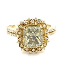 14KT Yellow Gold 3.98 ctw Natural Fancy Green Diamond Engagement Anniversary Rin