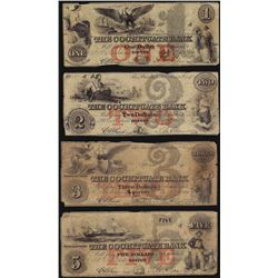 Set of 1852 $1/2/3/5 The Cochituate Bank Obsolete Notes