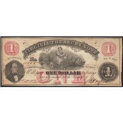 1862 $1 Virginia Treasury Obsolete Note