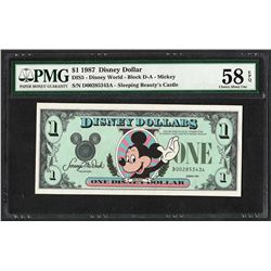 1987 $1 Disney Dollars Note PMG Choice About Uncirculated 58EPQ