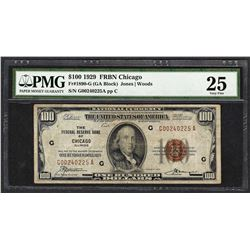 1929 $100 Federal Reserve Bank of Chicago Fr.1890-G PMG Very Fine 25