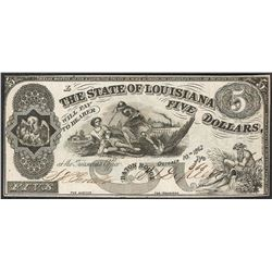 1862 $5 The State of Louisiana Obsolete Note