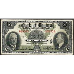 1938 $5 Bank of Montreal Note