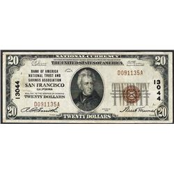 1929 $20 San Francisco California National Currency Note CH# 13044