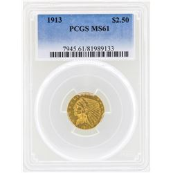 1913 $2 1/2 Indian Head Quarter Eagle Gold Coin PCGS MS61