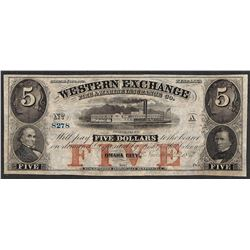1857 $5 The Western Exchange Nebraska Obsolete Note