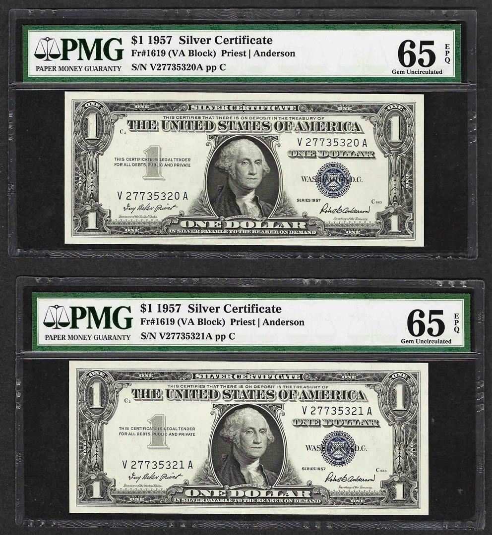 Lot Of 2 Consecutive 1957 1 Silver Certificate Notes Pmg Gem