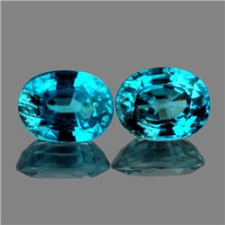 Natural AAA Blue Zircon Pair 8x6 Mm{Flawless-VVS1}