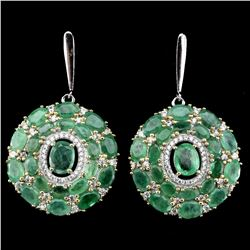 Natural Top Green Emerald 92 Carats  Earrings