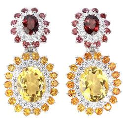 NATURAL AAA CITRINE RHODOLITE GARNET Earrings