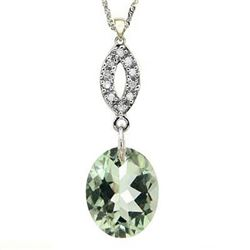 Natural Green Tea Amethyst Diamond 3.91ct Gold Pendant
