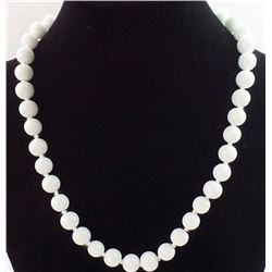 Natural White Jade Necklace - 12 mm