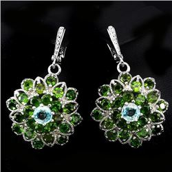 Natural Green Chrome Diopside 108 Cts Earrings