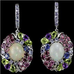 NATURAL OPAL  RHODOLITE TANZANITE AMETHYST EARRINGS