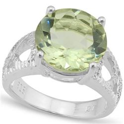 Natural Green Tea Amethyst & Diamond Ring 5.71 cts Ring