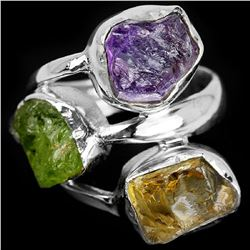 NATURAL ROUGH STONE AMETHYST PERIDOT CITRINE Ring