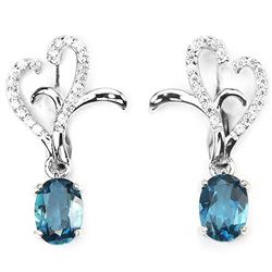 Natural London Blue Topaz Earrings
