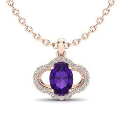 2 CTW Amethyst & Micro Pave VS/SI Diamond Necklace 10K Rose Gold - REF-29X6T - 20618