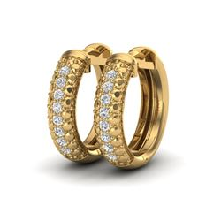 0.15 CTW Micro Pave Hoop VS/SI Diamond Earrings 10K Yellow Gold - REF-26X2T - 22486