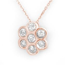 0.90 CTW Certified VS/SI Diamond Necklace 14K Rose Gold - REF-67F6N - 11273