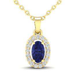 0.36 CTW Tanzanite & Micro Pave VS/SI Diamond Necklace Halo 18K Yellow Gold - REF-32Y2K - 21331