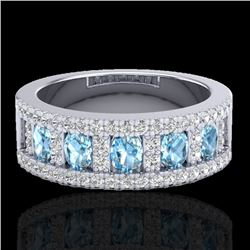 2 CTW Topaz & Micro Pave VS/SI Diamond Designer Inspired Band Ring 10K White Gold - REF-60K4W - 2081
