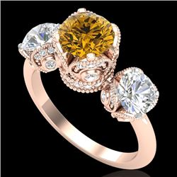 3 CTW Intense Yellow Diamond Solitaire Art Deco 3 Stone Ring 18K Rose Gold - REF-470K9W - 37435