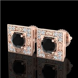 1.63 CTW Fancy Black Diamond Solitaire Art Deco Stud Earrings 18K Rose Gold - REF-114A5X - 38158