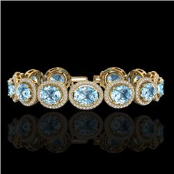 30 CTW Sky Blue Topaz & Micro Pave VS/SI Diamond Bracelet 10K Yellow Gold - REF-360Y2K - 22701