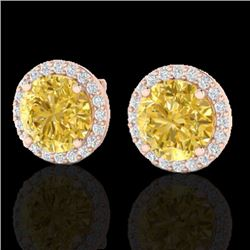 4 CTW Citrine & Halo VS/SI Diamond Micro Pave Earrings Solitaire 14K Rose Gold - REF-53A6X - 21485